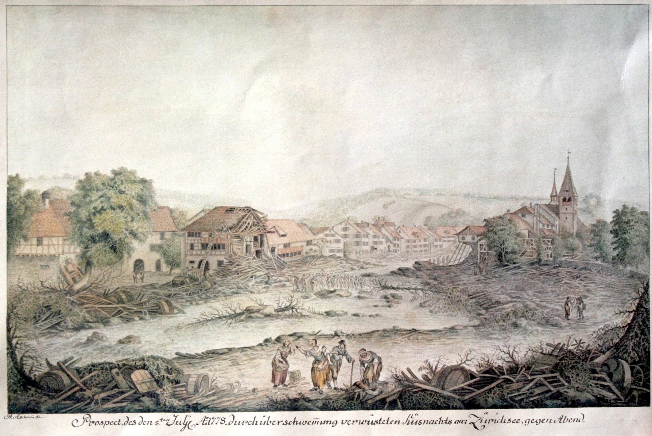 Ansicht des Hochwassers in Küsnacht von 1778.