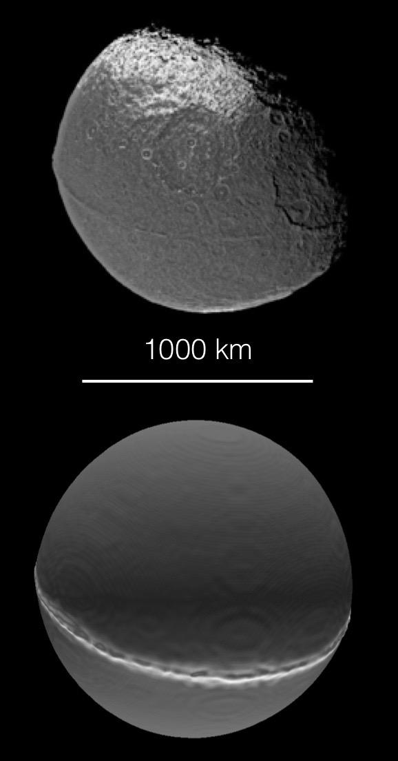 Das obere Bild zeigt den grossen Saturnmond Iapetus, fotografiert von Cassini. Er hat eine abgeplattete Form und einen Gebirgszug um den Äquator. Unten: Das Ergebnis der Simulation einer frontalen Fusion von zwei gleich grossen Körpern mit je der Hälfte der Masse von Iapetus. © NASA/JPL/Space Science Institute/Universität Bern