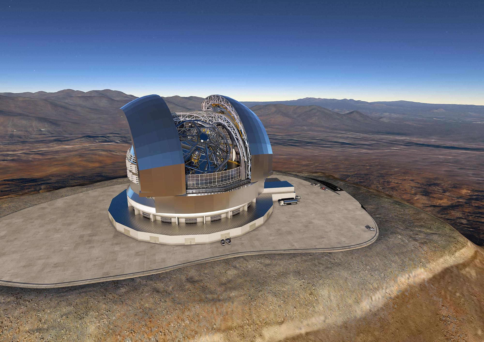 In Chile baut die Europäische Südsternwarte ESO das Extremely Large Telescope (ELT) mit einem Spiegeldurchmesser von 39 Metern. ESO ELT, Bildnachweis ESO/L. Calçada/Ace Consortium