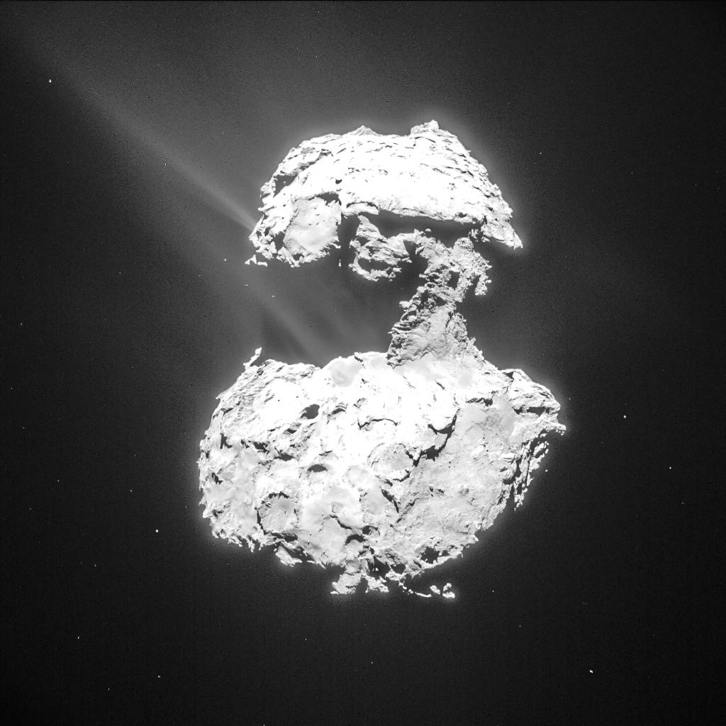 Gas und Staub steigen von «Churys» Oberfläche auf, während sich der Komet dem sonnennächsten Punkt auf seiner Umlaufbahn nähert. © ESA/Rosetta/NAVCAM