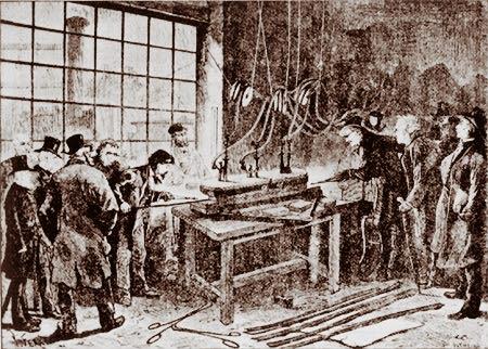 Ein neuer Massstab entsteht: Guss der internationalen Urmeter in Paris 1874. Bild: Conservatoire des Arts et Métiers