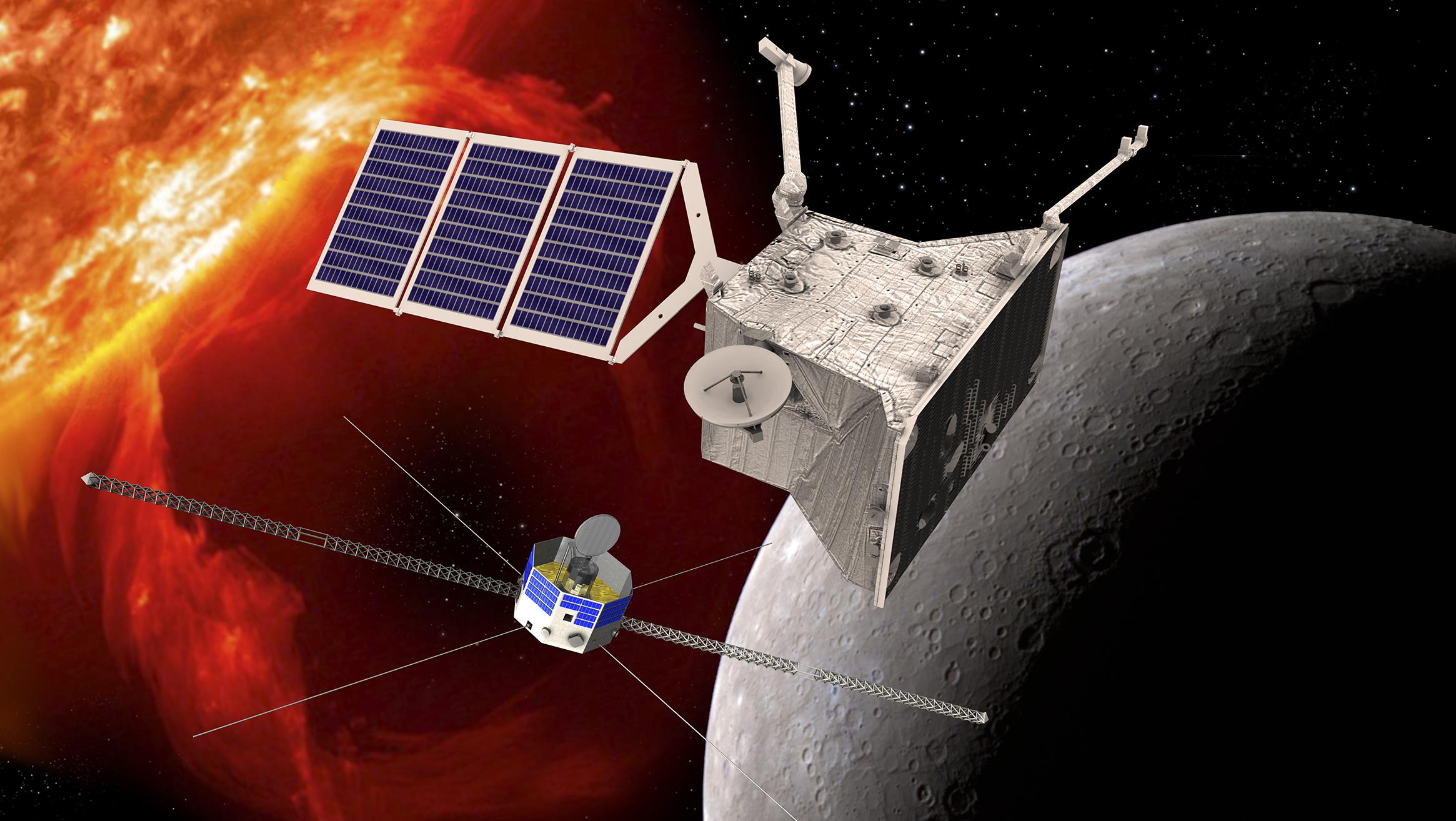 Künstlerische Impression von BepiColombo beim Merkur.  © ESA