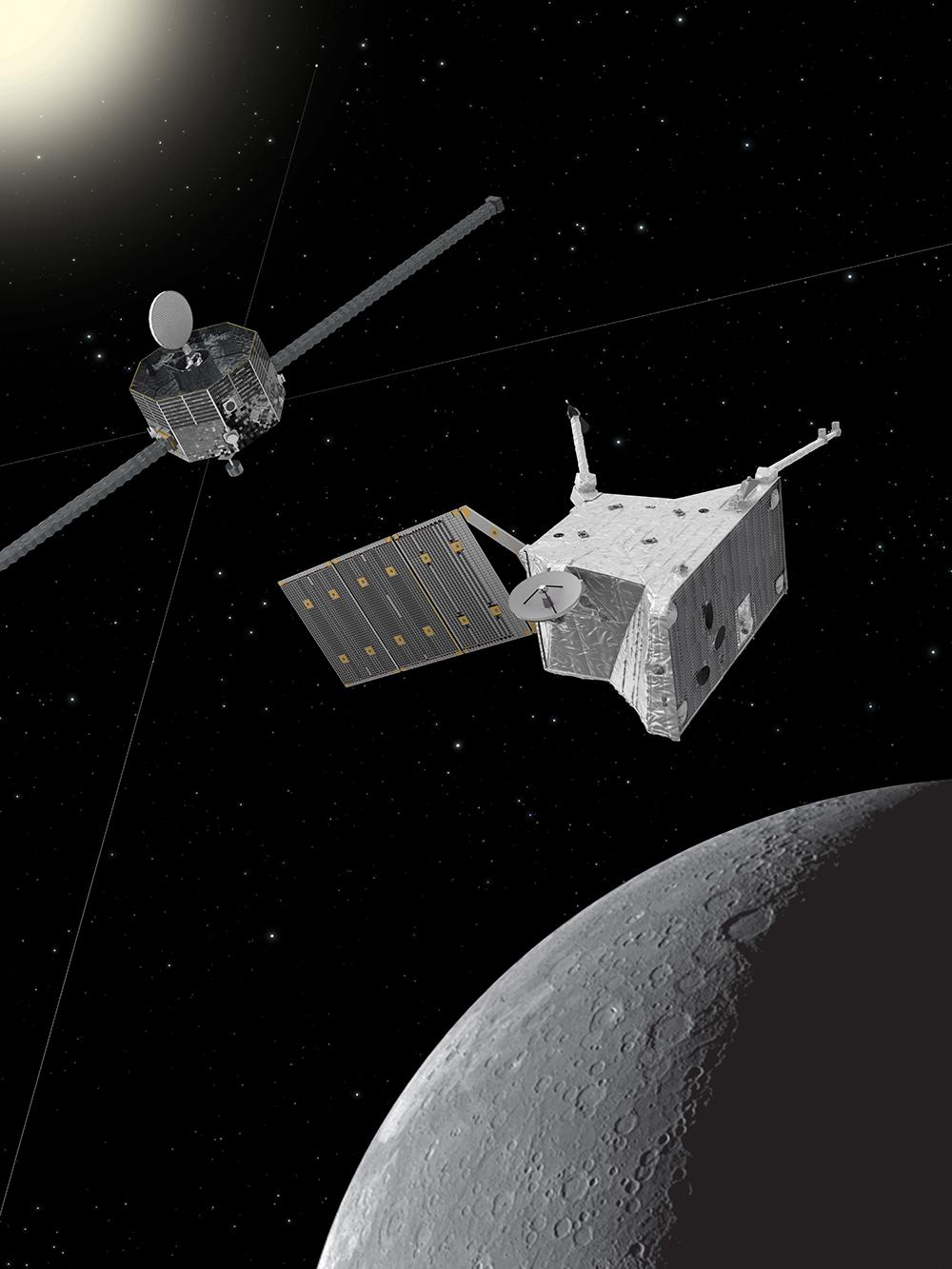 Künstlerische Darstellung der Raumsonde BepiColombo beim Merkur. Das Bild von Merkur wurde von der NASA-Raumsonde Messenger aufgenommen.  © Raumsonde: ESA/ATG medialab; Merkur: NASA/Johns Hopkins University Applied Physics Laboratory/Carnegie Institution of Washington