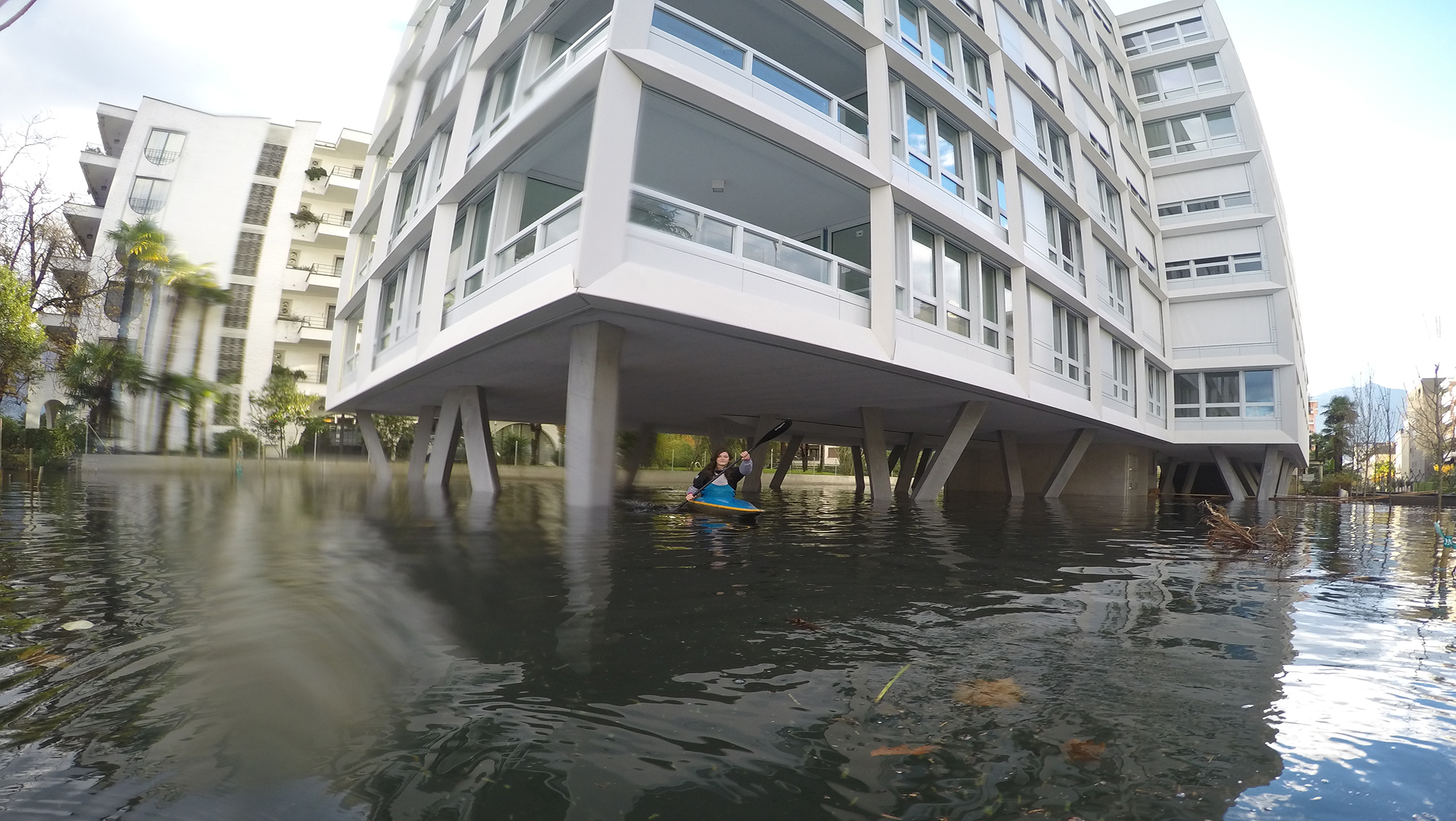 Im November 2014 trat der Lago Maggiore über die Ufer und überschwemmte Wohnquartiere in Locarno. (Bild: Mobiliar Lab für Naturrisiken / Luca Panziera)