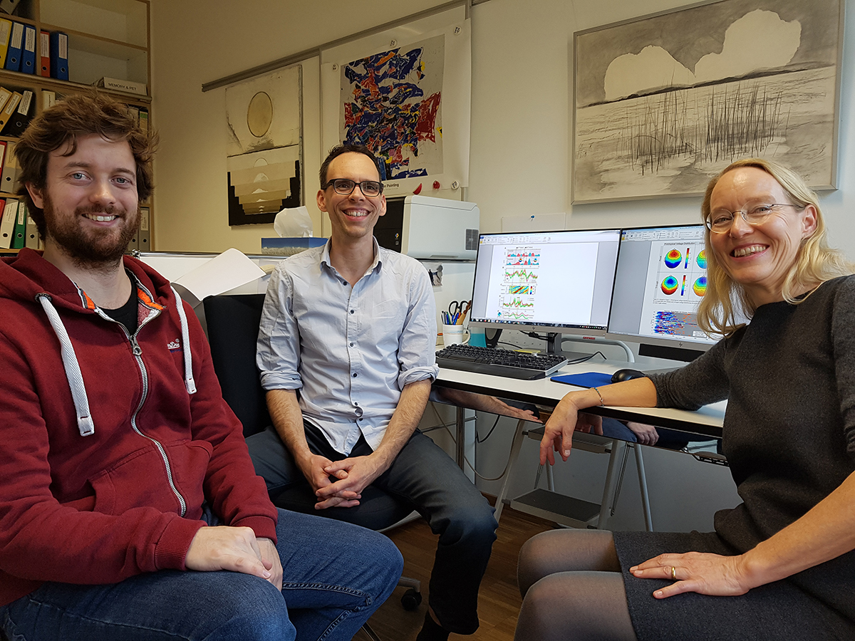 Marc Züst, Simon Ruch und Katharina Henke (v.l.n.r.). Bild: Tom Willems, Universität Bern