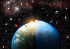 Beispiel eines Planeten, der wegen erheblichen Mengen an Aluminium-26 austrocknet (links). Planeten in Regionen mit Sternen geringer Masse sammeln hingegen viele wasserreiche Bausteine an und werden zu Ozeanwelten (rechts). Bildnachweis: Thibaut Roger