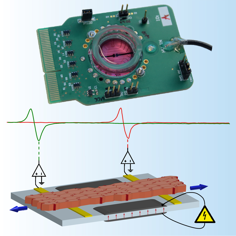 Autonome Gewebedehnungseinheit mit schematischer Zeichnung ihrer Funktion. Die Spitzen in den Messsignalen zeigen die lokale elektrische Aktivierung des gedehnten Gewebes an. Bild: Universität Bern.