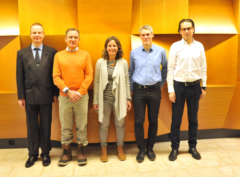 Leitung des BCPM: Prof. Dr. Tosso Leeb, Prof. Dr. Mark A. Rubin, Prof. Dr. Claudia Kühni, Prof. Dr. Carlo Largiadèr, Dr. Rémy Bruggmann. Bild: BCPM, Universität Bern