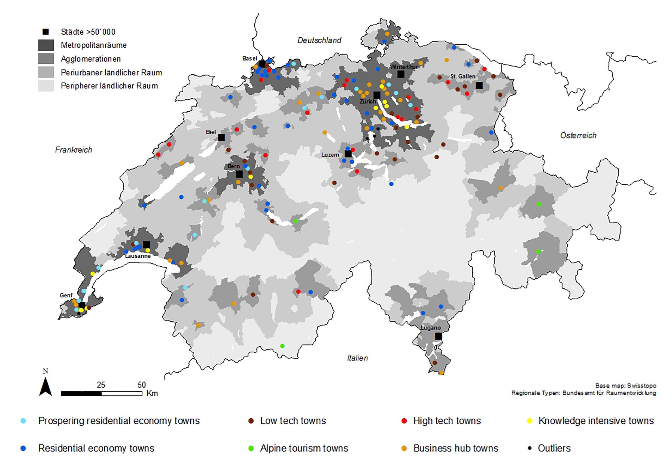 Die 152 kleinen und mittelgrossen Städte (SMSTs) der Schweiz wurden mittels einer Clusteranalyse in sieben Typen eingeteilt. Ausschlaggebend dafür war die dominierende wirtschaftliche Charakteristik. Auf der Karte hat jeder Typ eine eigene Farbe. Sie macht deutlich: Die Typologie ist von der Region unabhängig. © Schweizerischer Nationalfonds SNF