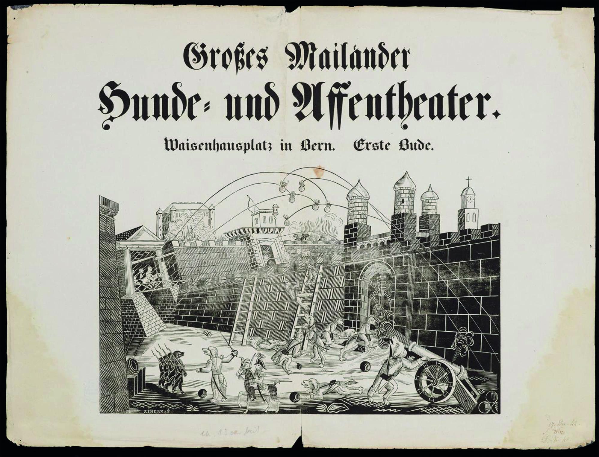 Grosses Mailänder Hunde- und Affentheater von Jakob Corvi auf dem Waisenhausplatz in Bern, 1842. Sammlung Druckbelege Haller, © Universitätsbibliothek Bern.
