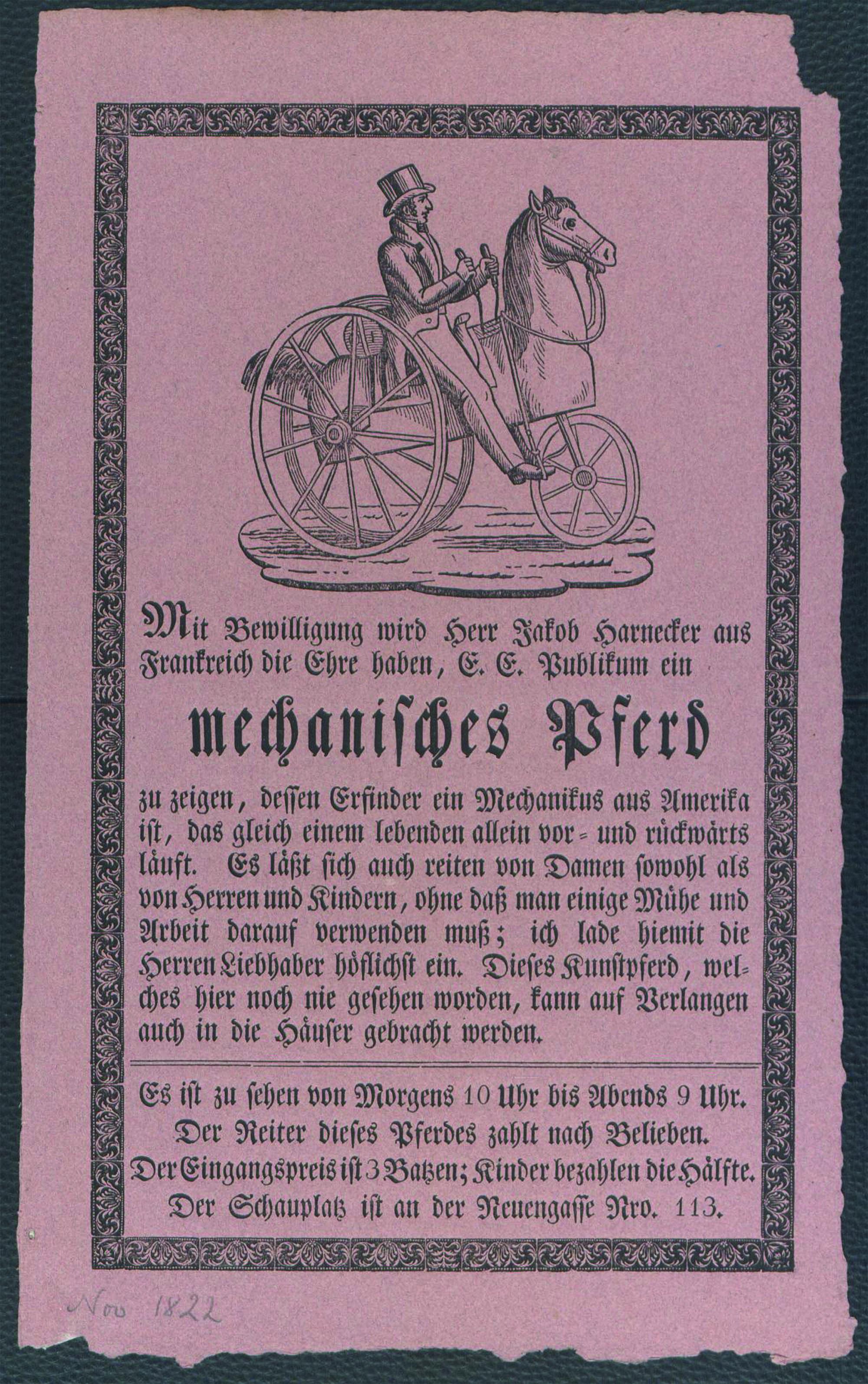 Jakob Harnecker zeigt ein mechanisches Pferd, das gleich einem lebenden allein vor und rückwärts läuft. Von Morgens 10 Uhr bis Abends 9 Uhr an der Neuengasse Nr. 113, 1822. Sammlung Druckbelege Haller, © Universitätsbibliothek Bern.