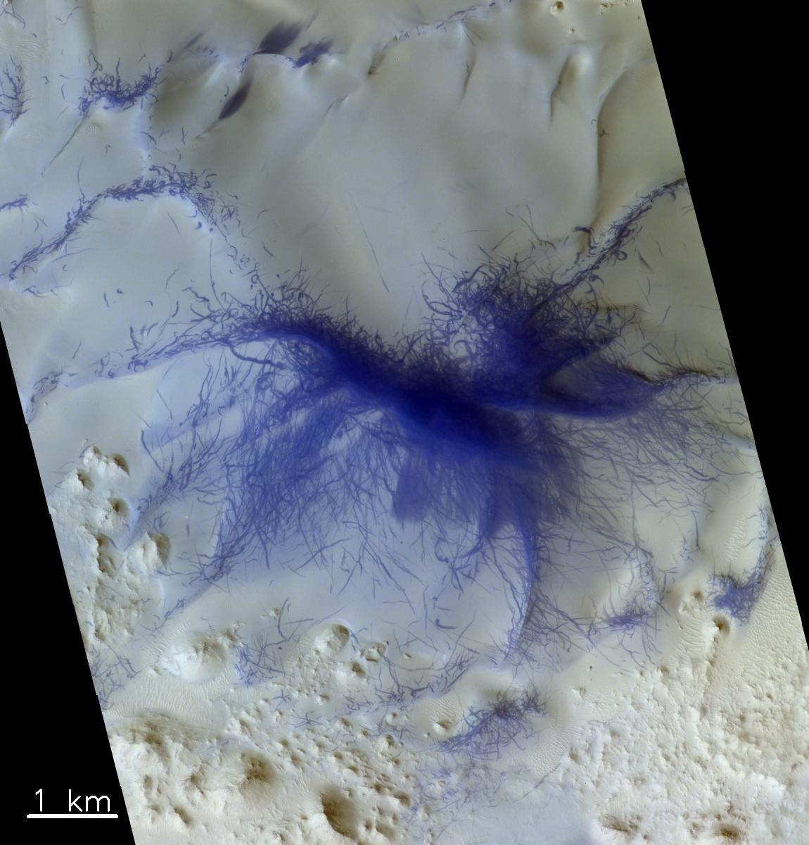 Aufnahme aus der Terra Sabaea-Region westlich des Augakuh Vallis. Mehrere Grate sind mit Strichen bedeckt. Diese sind höchstwahrscheinlich Spuren von Staubteufeln (Luftwirbeln). Die blaue Färbung macht Strukturen auf der roten Marsoberfläche sichtbarer – in Echtfarbe wären die Striche dunkelrot. © ESA/Roscosmos/CaSSIS