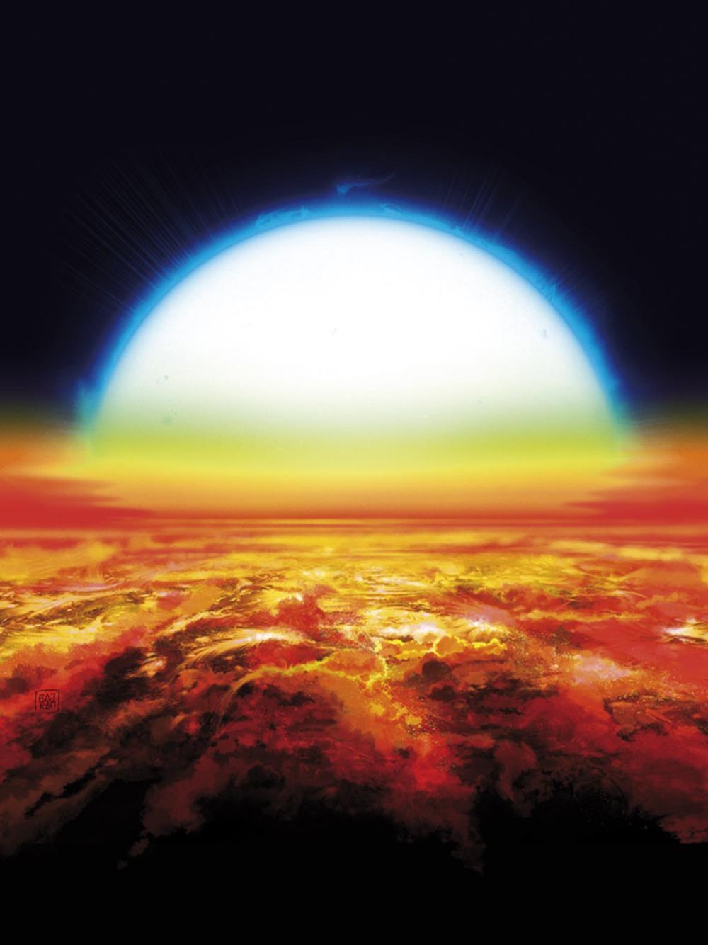 Künstlerische Ansicht eines Sonnenuntergangs über KELT-9b. Unter dieser sengenden Sonne ist die Atmosphäre des Planeten warm genug, um in rötlich-orangenen Tönen zu leuchten und Schwermetalle wie Eisen und Titan zu verdampfen. Bild: © Denis Bajram