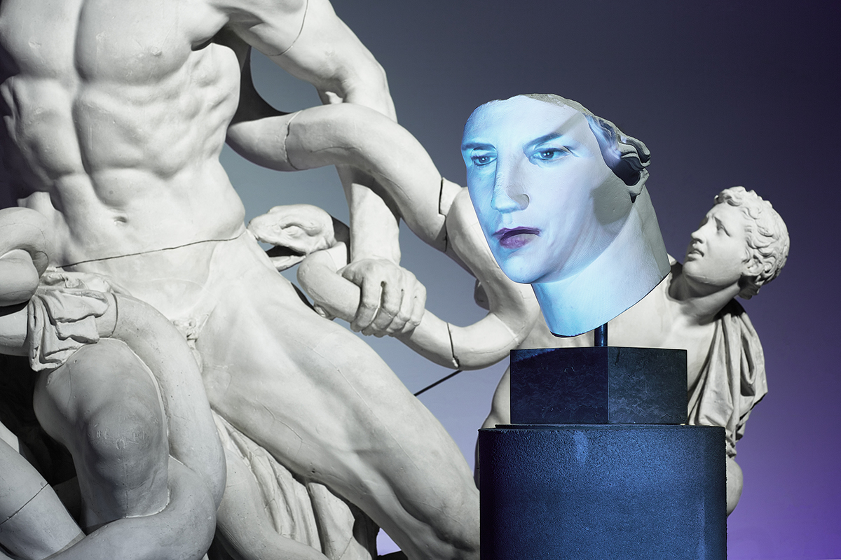 Spartenübergreifende Ausstellung: In «Facing History – Kulturgeschichte im Dialog» verbinden sich Interaktive Medienkunst, Schauspiel und Philosophie in äusserst lebhaften Szenografien.   Foto: Simon Schmid