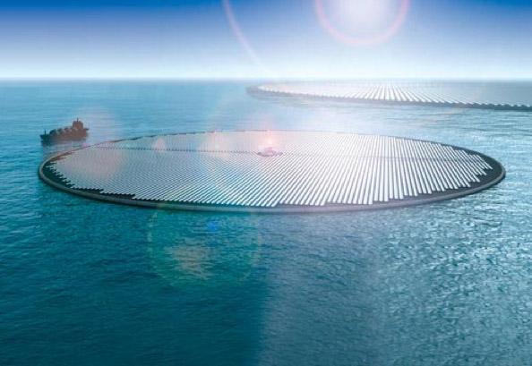 So könnten die schwimmenden Solarinseln aussehen. Auf dem Schiff links befänden sich alle notwendigen Anlagen zur Produktion von Methanol. Visualisierung: Novaton