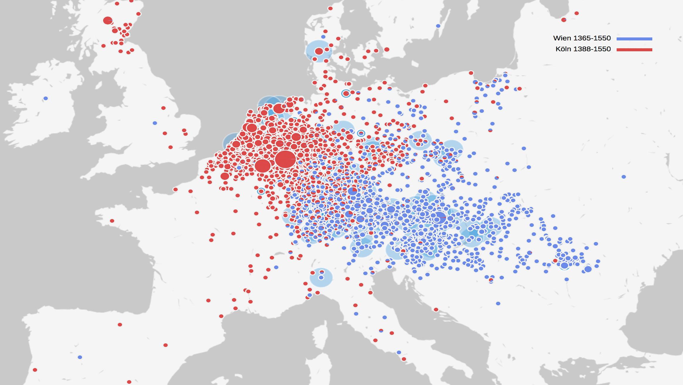 Herkunfts- und Kommunikationsräume von Gelehrten der Universitäten Köln (rot) und Wien (blau) um ca. 1550 im Vergleich.