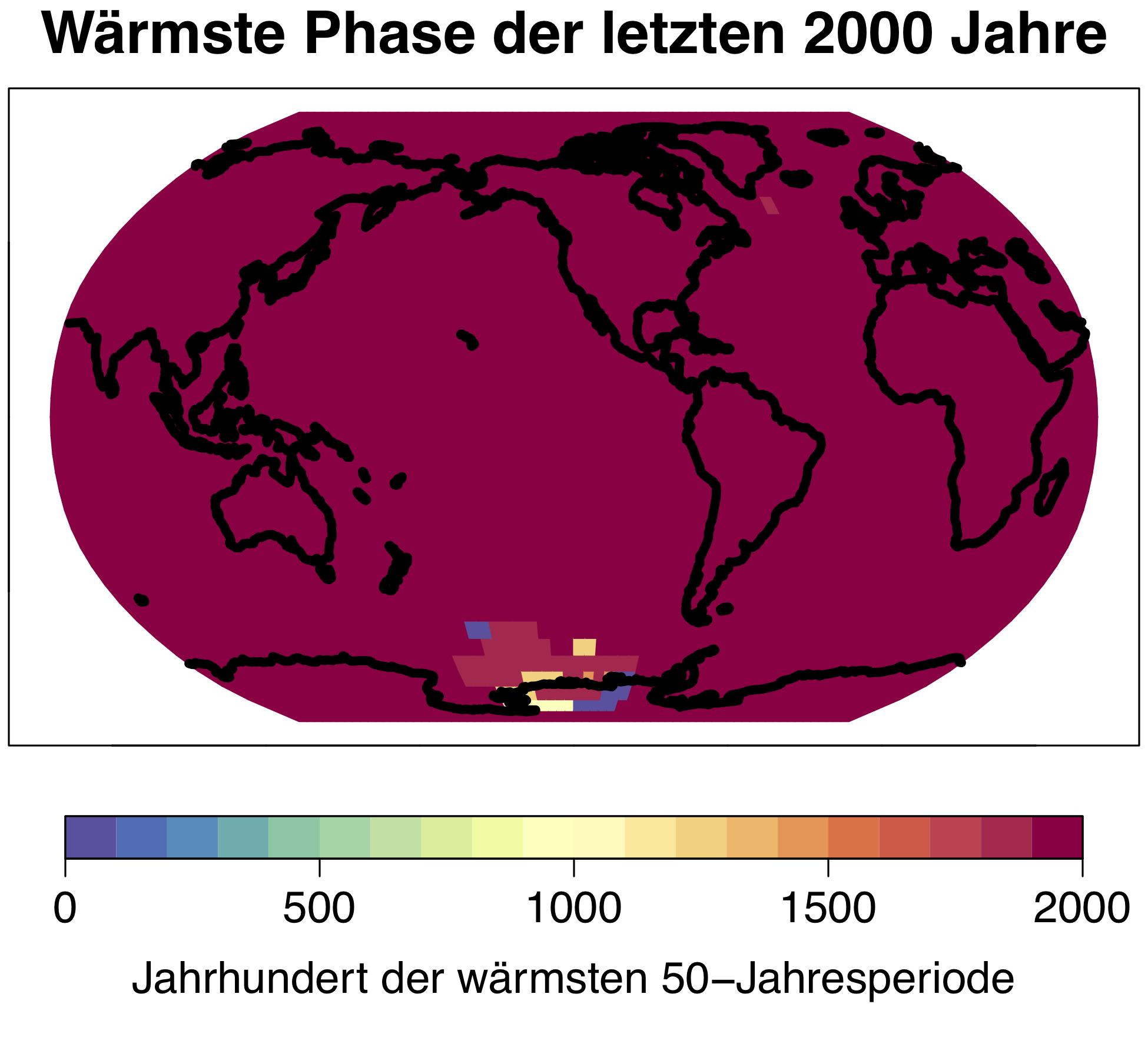 Die gegenwärtige Klimaerwärmung ist ein globales Phänomen, die wärmste 50-Jahresperiode der vergangenen 2000 Jahre trat auf über 98 Prozent der Erdoberfläche im 20. Jahrhundert auf. © Universität Bern