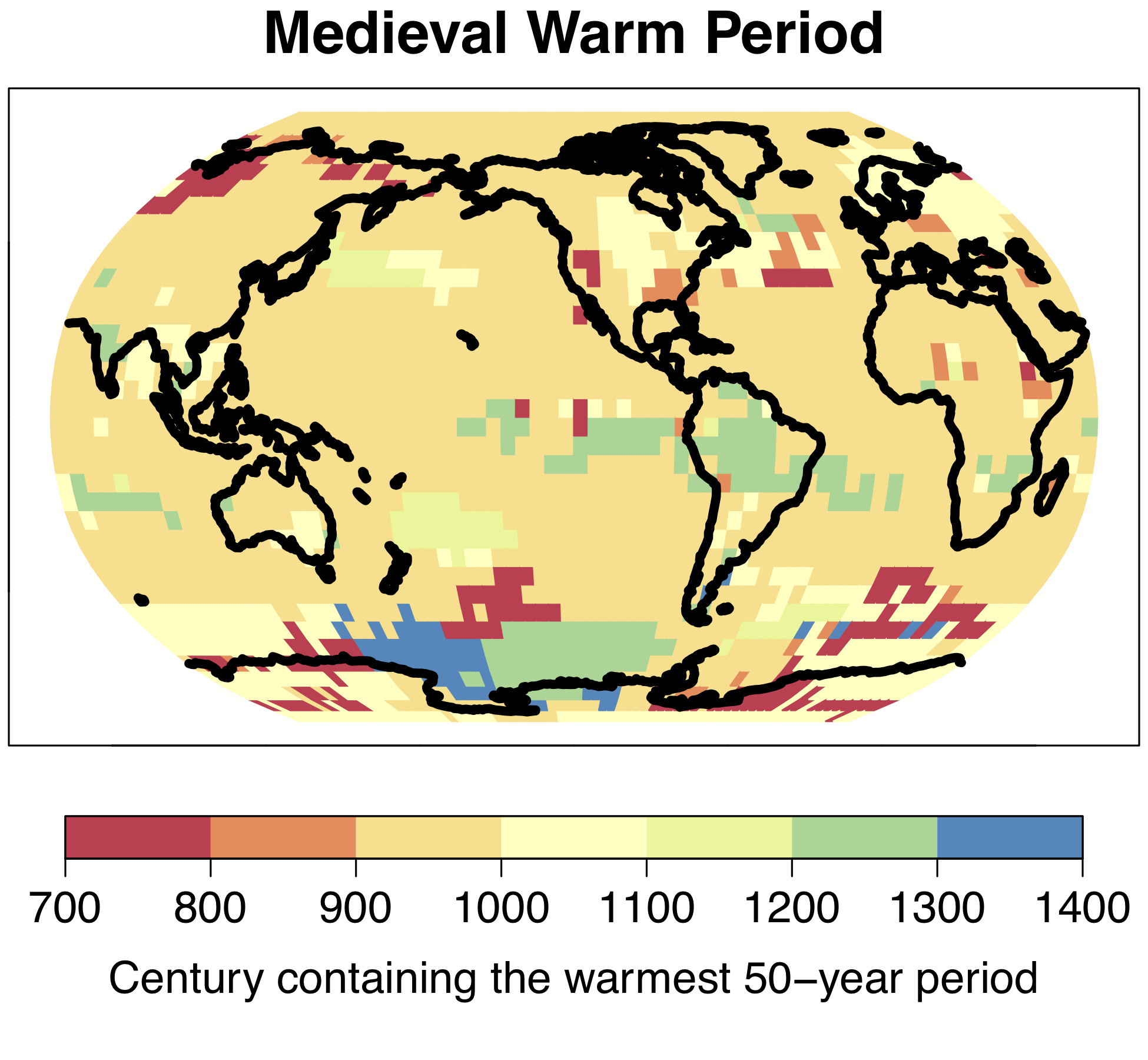 "The warm period which became known as the ""Medieval Warm Period"" in Europe and North America was not a global phenomenon; the warmest 50-year period between the years 700 and 1400 occurred at different times in different regions. © University of Bern"