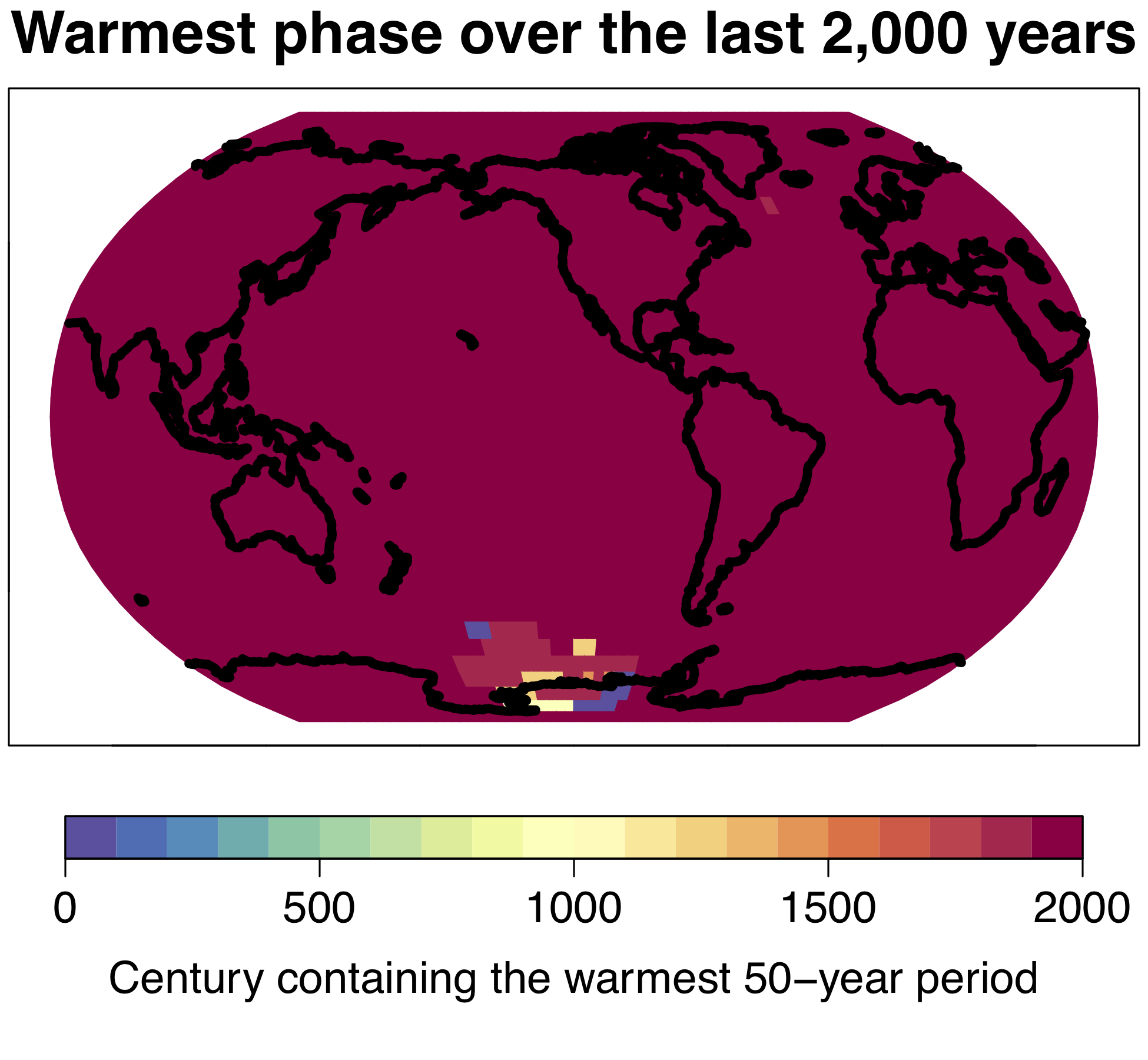 Modern global warming is a global phenomenon; the warmest 50-year period of the last 2000 years occurred on more than 98% of the earth's surface in the 20th century.  © University of Bern