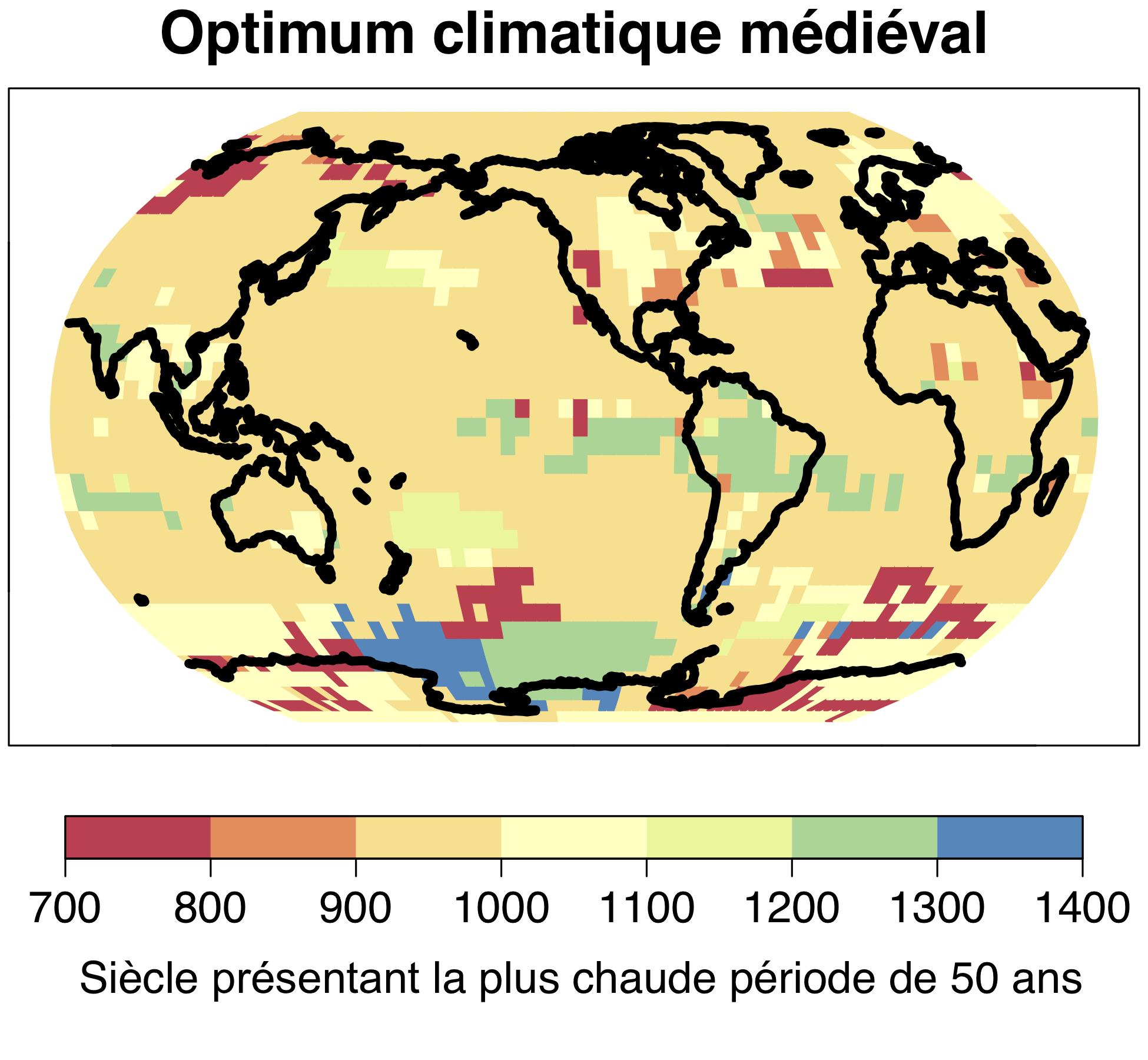 La phase chaude devenue célèbre en Europe et en Amérique du Nord comme l'« optimum climatique médiéval » n'a pas été un phénomène mondial ; la période la plus chaude de 50 ans entre 700 et 1400 a eu lieu de manière locale et à des moments différents. © Université de Berne