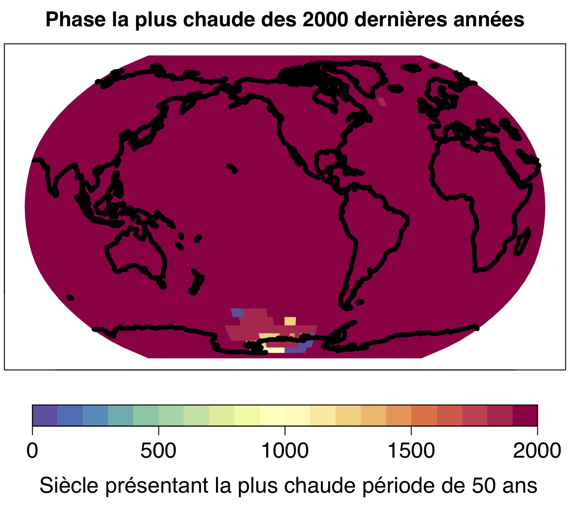 Le réchauffement climatique actuel est un phénomène mondial ; la période la plus chaude de 50 ans des 2000 dernières années a eu lieu sur plus de 98 % de la surface terrestre au 20ème siècle. © Université de Berne