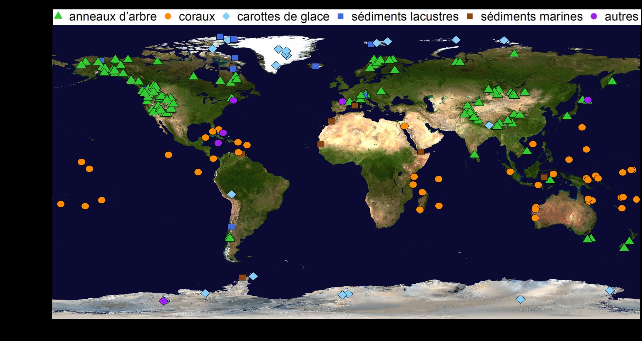 Les ensembles de données climatiques qui ont été utilisés pour la reconstruction des températures mondiales sur les 2000 dernières années.  © NASA, élaboration Raphael Neukom