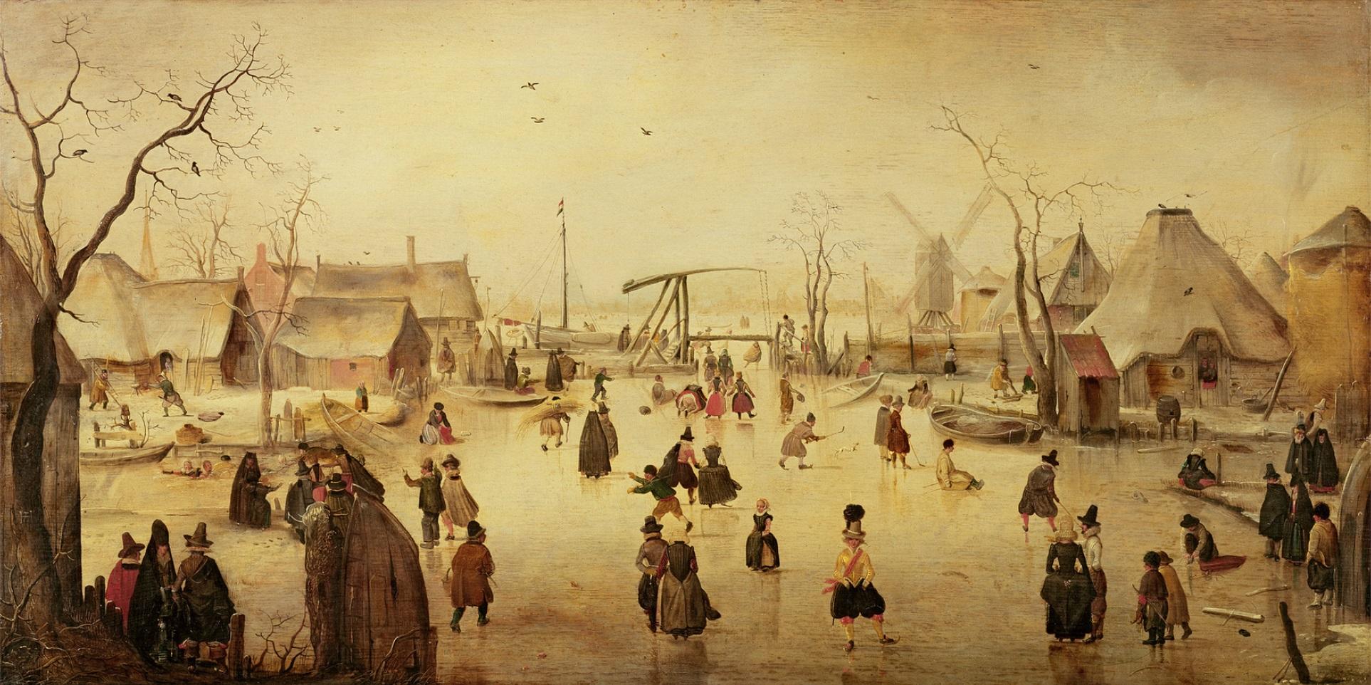 Les hivers rudes pendant le «Petit âge glaciaire» ont fourni des modèles aux peintres néerlandais, entre autres, qui sont entrés dans la mémoire européenne collective. Ici, la toile « Paysage d'hiver » de Hendrick Avercamp (1585-1634) créée au 17ème siècle. Source: The Bridgeman Art Library, Object 39769, Wikimedia