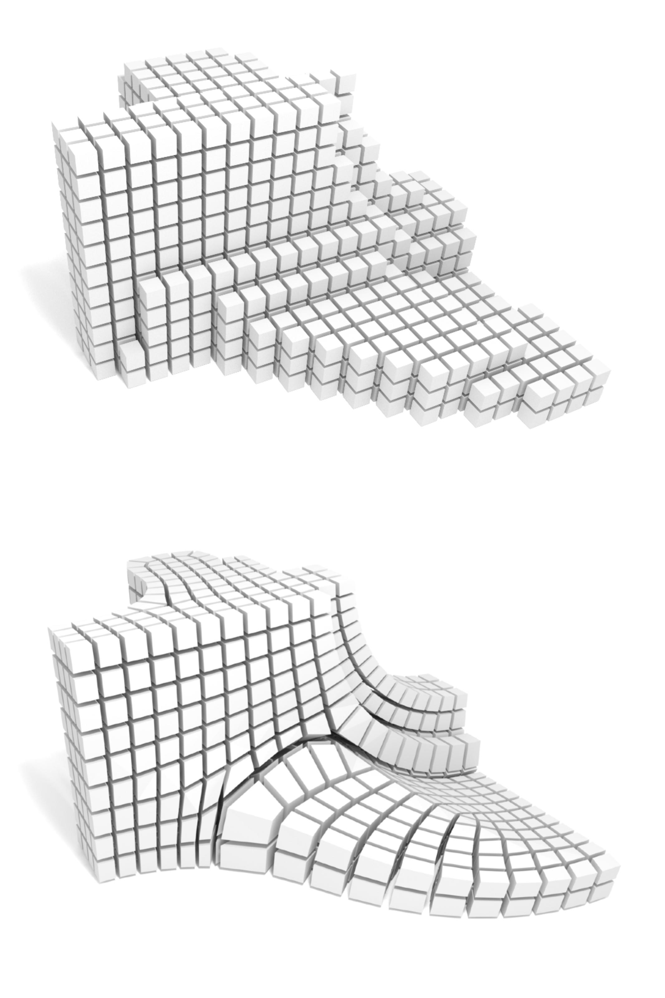 Im Projekt «AlgoHex» werden Algorithmen zur automatischen Zerlegung von Formen in Hexaederelemente entwickelt. Die elastisch deformierbaren Elemente (unten) ermöglichen die Darstellung von beliebigen Formen. Dies ist ein grosser Vorteil gegenüber starren «Legomodellen», die treppenartig abgestuft sind (oben). Bild: © David Bommes