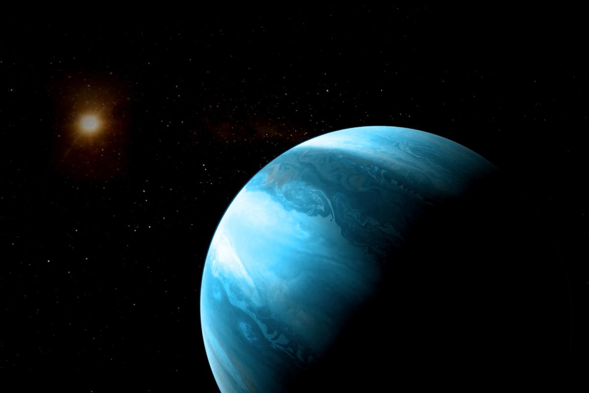 Künstlerische Darstellung eines jupiterähnlichen Planeten mit bläulicher Farbe in einer Umlaufbahn um einen kühlen Roten Zwerg. © CARMENES/RenderArea/J. Bollaín/C. Gallego