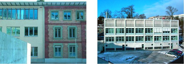 Sichtbacksteinbau und Beton-Stahlbau