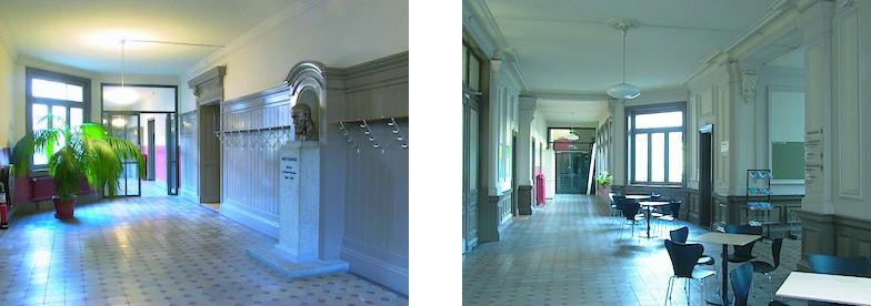 Eingshalle und Korridor im Anatomiegebäude, Bühlstrasse 26