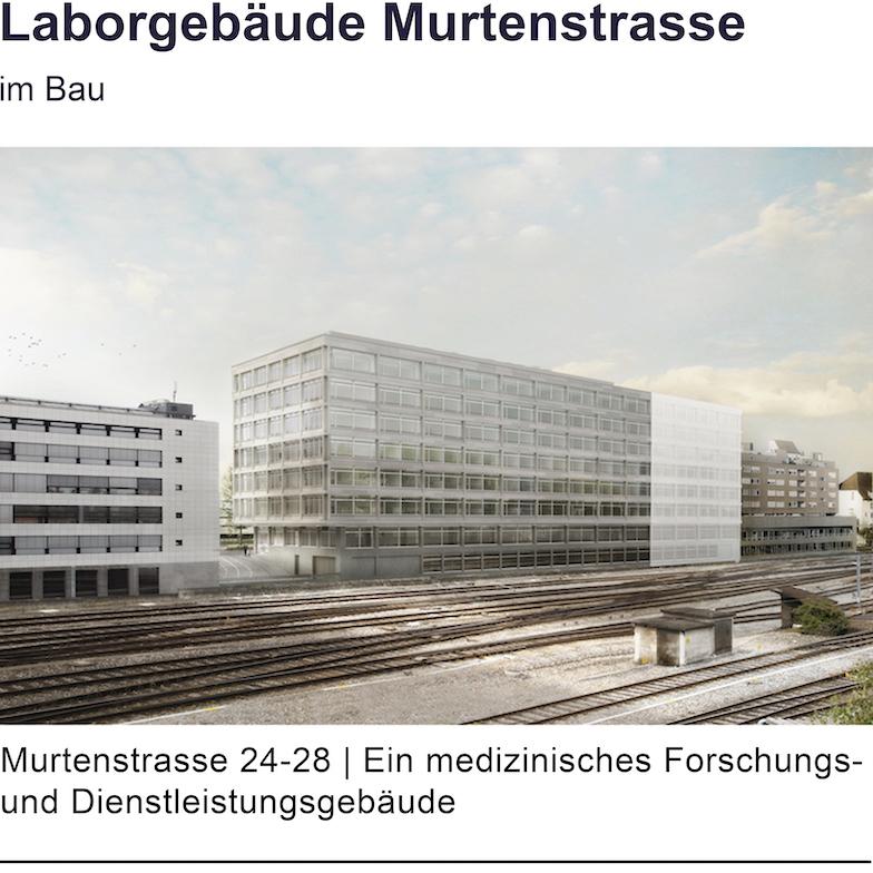 Murtenstrasse 24 bis 28, Visualisierung Nordansicht des neuen medizinischen Forschungsgebäudes
