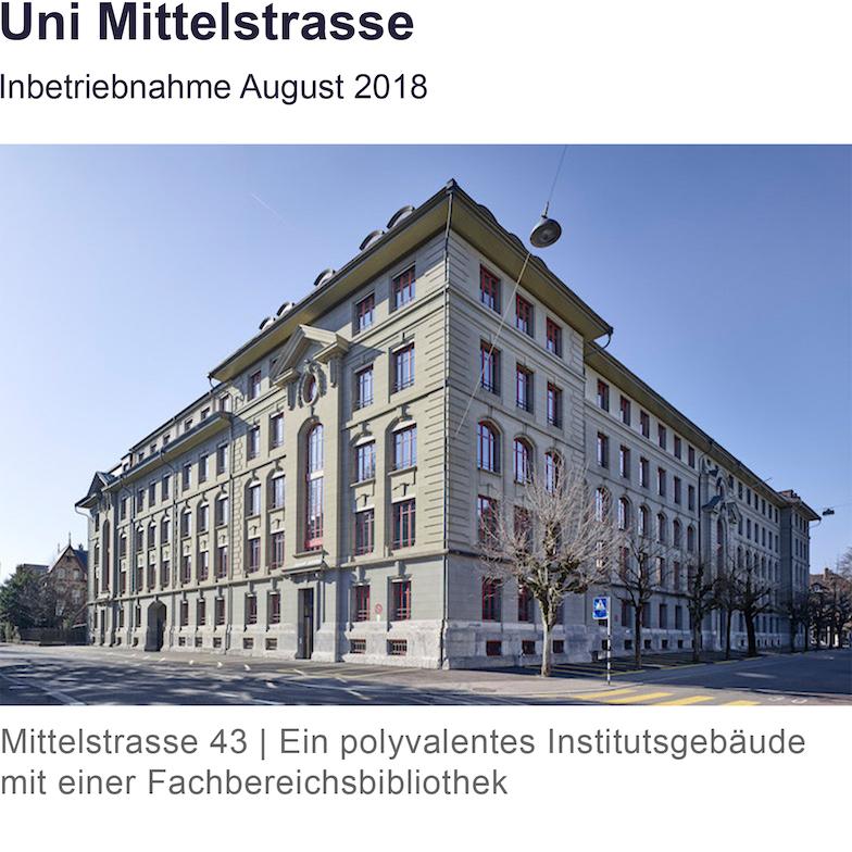 Nordostansicht Mittelstrasse 43, ein polyvalentes Institutsgebäude mit Fachbibliothek