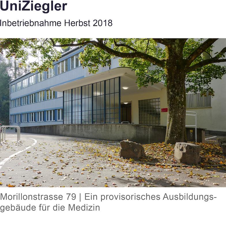Zugang Morillonstrasse 79, provisorisches Ausbildungsgebäude der Medizinischen Fakultät