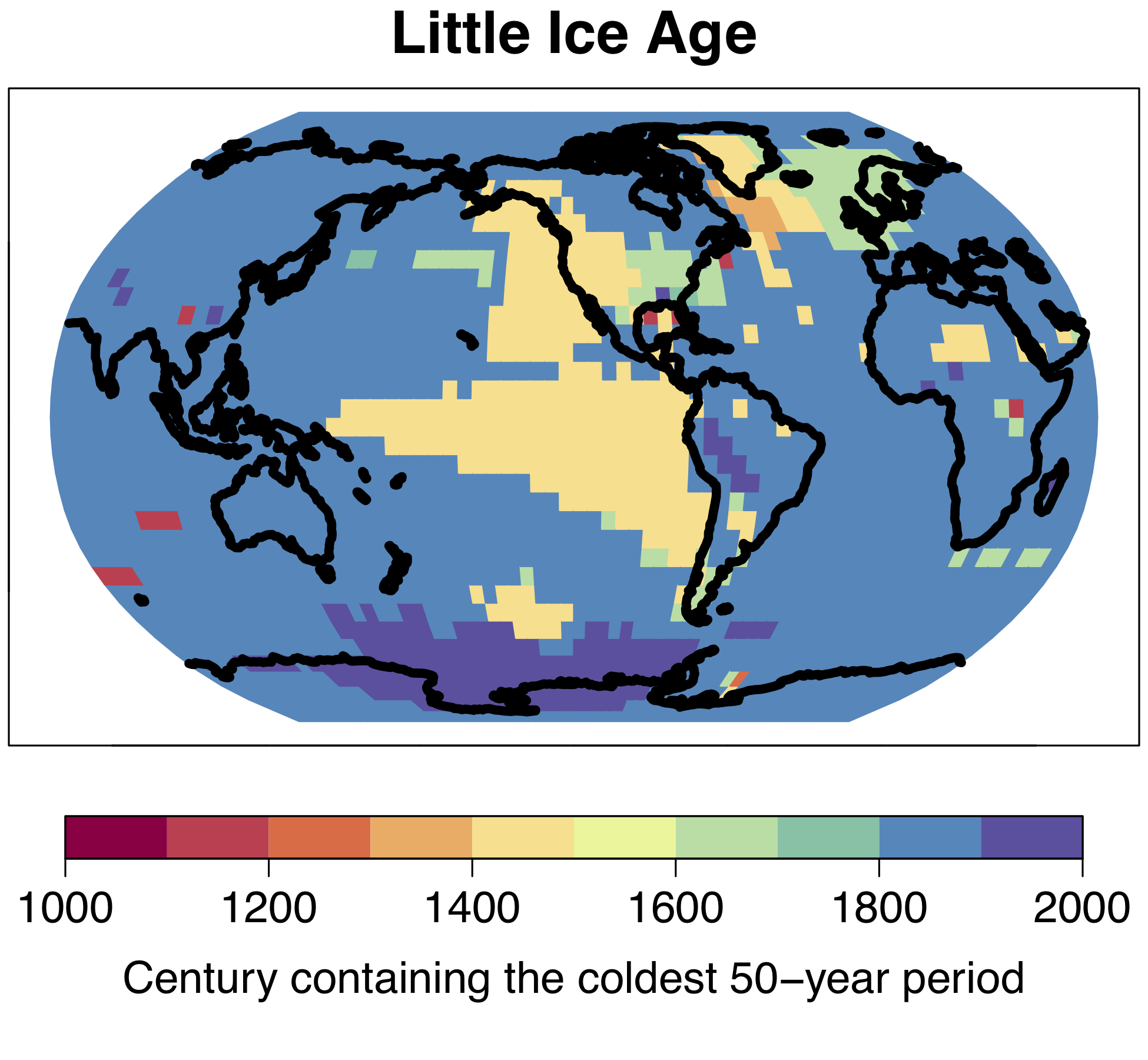 "The cold period which became known as the ""Little Ice Age"" in Europe and North America was not a global phenomenon; the coldest 50-year period of the last millennium occurred at different times in different regions. © University of Bern"