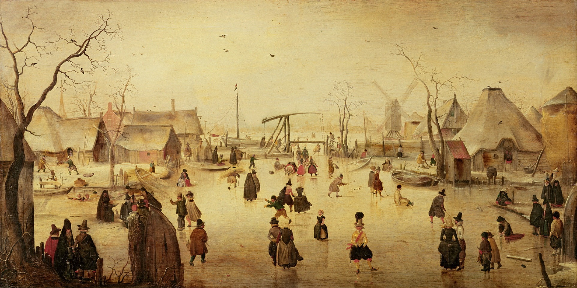 "Among other things, the harsh winters during the ""Little Ice Age"" provided Dutch painters with motifs which have since entered into collective European consciousness. This is ""The Pleasures of Winter"", a 17th-century painting by Hendrick Avercamp (1585-1634).  Source: The Bridgeman Art Library, Object 39769, Wikimedia"